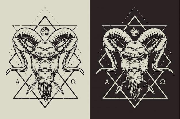 Distintivo di capra disegnato a mano