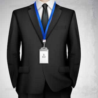 Distintivo di carta d'identità dell'uomo d'affari realistico