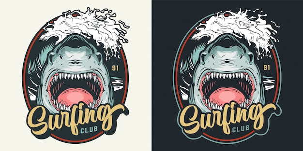 Distintivo di club surf colorato estate