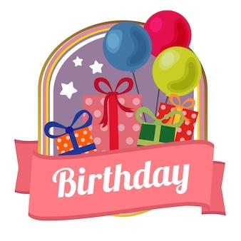 Distintivo di compleanno casella presente con palloncino