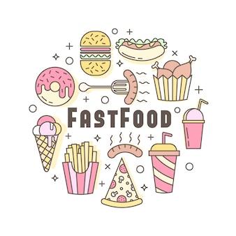Distintivo di fast food piatto piatto, emblema di banner o logo.