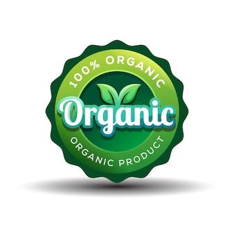 Distintivo di gradiente design del logo organico o vegano