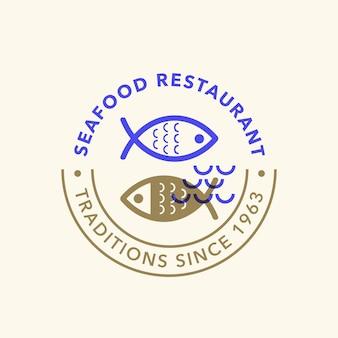 Distintivo di logo retrò frutti di mare vintage