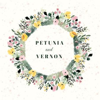 Distintivo di matrimonio con cornice acquerello giardino floreale