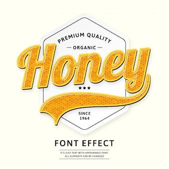 Distintivo di miele o logo tipo prodotto script font
