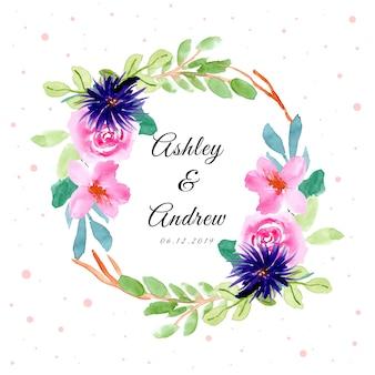 Distintivo di nozze con acquerello bella cornice floreale
