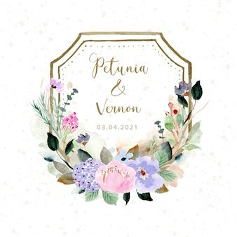 Distintivo di nozze con bella cornice floreale ad acquerello