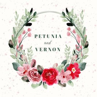 Distintivo di nozze con bella corona di fiori ad acquerello
