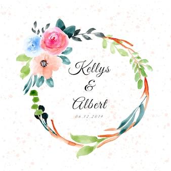 Distintivo di nozze con cornice floreale dell'acquerello