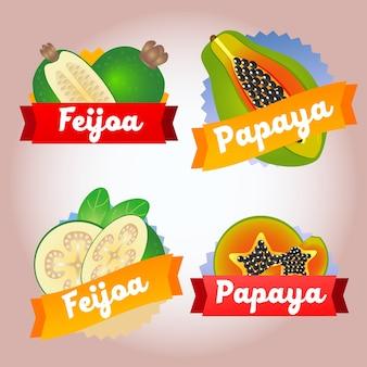Distintivo di papaia di feijoa frutto della raccolta