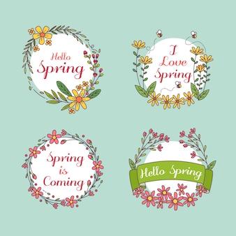 Distintivo di primavera disegnata a mano con fiori e distintivo