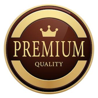 Distintivo di qualità premium corona logo rotondo metallico dorato lucido marrone