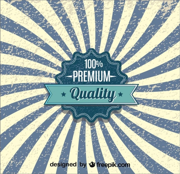 Distintivo di qualità retrò raggera blu design manifesto