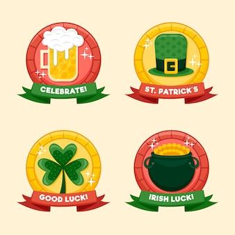 Distintivo di san patrizio con birra e fortuna