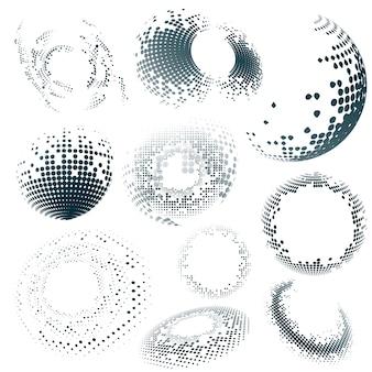 Distintivo di semitono nero su sfondo bianco impostato