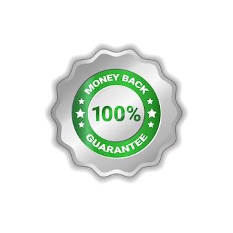 Distintivo di soldi indietro 100 per cento isolati