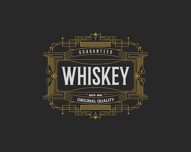 Distintivo di whisky con cornice decorativa