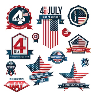 Distintivo ed etichetta impostata, festa dell'indipendenza, illustrazione vettoriale