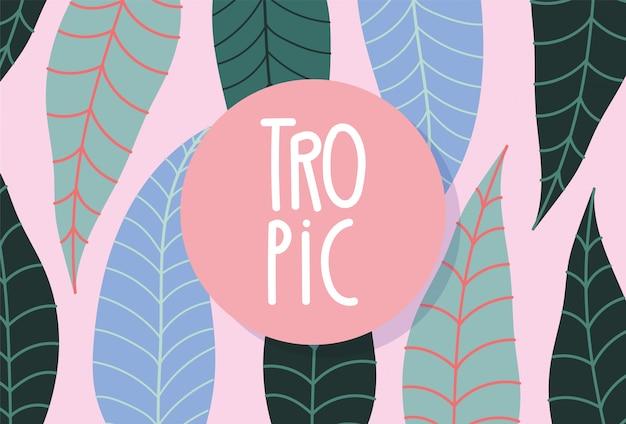 Distintivo floreale botanico esotico di foglie tropicali