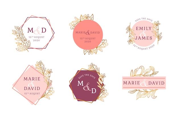 Distintivo floreale dorato matrimonio set
