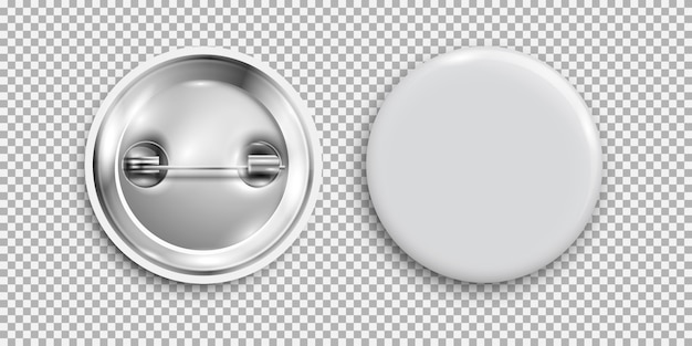 Distintivo in bianco, bottone rotondo bianco 3d, bottone del perno isolato
