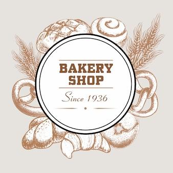 Distintivo logo negozio di panetteria con pagnotta di pane appena sfornato, pretzel, croissant, bagel, panino ghiacciato alla cannella e grano.