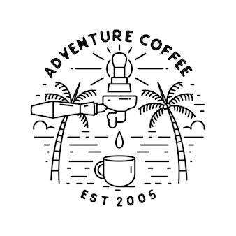 Distintivo monoline, tema caffè e spiaggia
