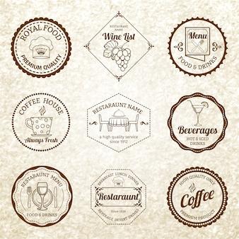 Distintivo ristorante o set di etichette nero