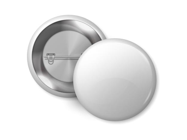 Distintivo rotondo bianco. merce vuota del pulsante pin, modello di progettazione di etichette metalliche 3d realistico