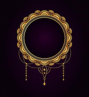 Distintivo tipografico dorato d'annata di titolo di nozze di forma circolare.
