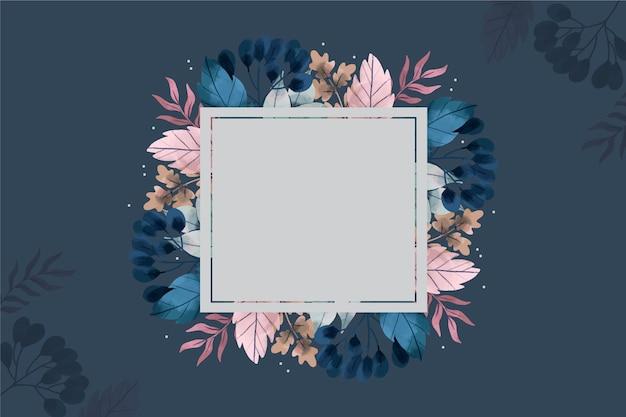 Distintivo vuoto su sfondo di fiori d'inverno