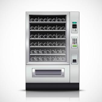 Distributore automatico moderno realistico con corpo in acciaio e pannello di controllo elettronico