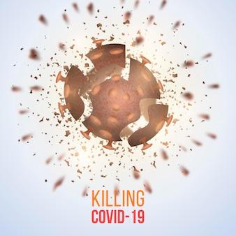 Distruzione del tema di sfondo del coronavirus