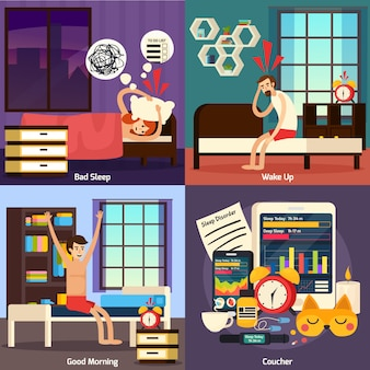Disturbo del sonno set di composizione ortogonale