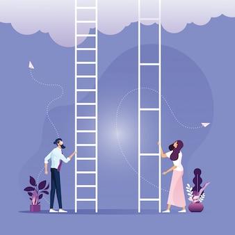 Disuguaglianza nel concetto di business aziendale, uomo d'affari e imprenditrice