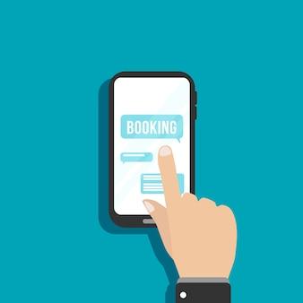 Dito che tocca lo smartphone dello schermo. smartphone in mano con design piatto. applicazione mobile e concetto di tecnologia moderna. comunicazione di rete sociale in un'applicazione mobile. illustrazione