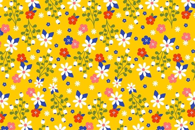 Ditsy carta da parati floreale colorata