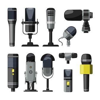 Dittafono, microfono e altri strumenti professionali per reporter e altoparlanti