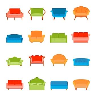 Divani di sofà moderno mobili icone piatto insieme isolato illustrazione vettoriale