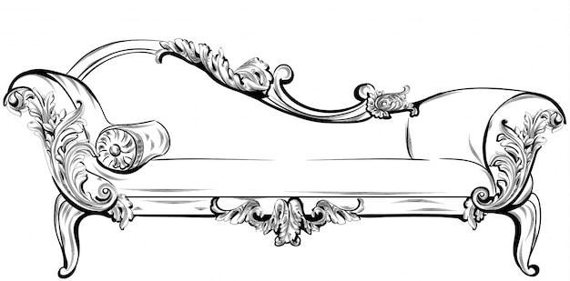 Divano o panca con ricchi elementi barocchi ornamenti vettore. stili vittoriani imperiali reali
