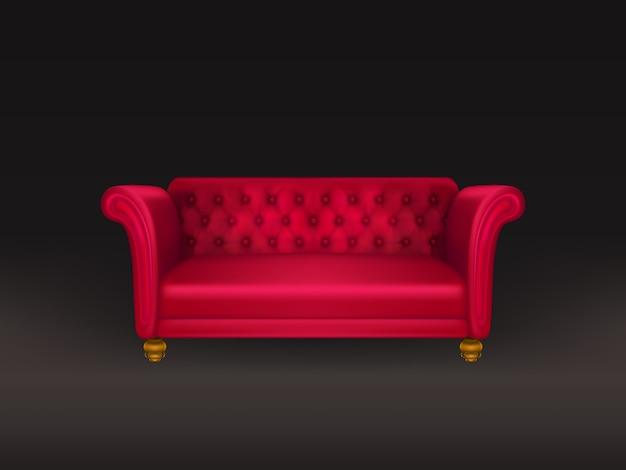 Divano rosso, divano isolato su fondo nero