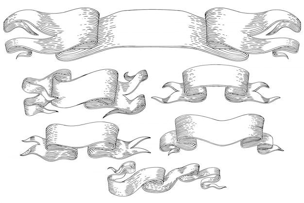 Diverse bandiere in bianco e nero nello stile dell'incisione