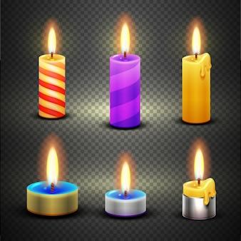 Diverse candele con fiamma per il compleanno e le vacanze di natale. insieme di vettore isolato su scacchi tr