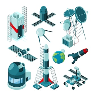 Diverse costruzioni nel centro spaziale per il lancio di razzi.
