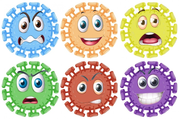 Diverse espressioni facciali su un oggetto tondo