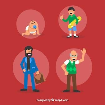 Diverse fasi della vita di un uomo