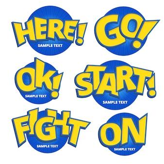 Diverse frasi scritte con caratteri gialli per bambini.