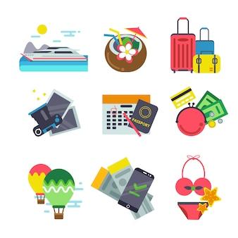 Diverse icone di viaggio. illustrazioni vettoriali di vacanze estive in stile piatto
