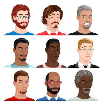 Diverse maschio avatars vector isolato caratteri