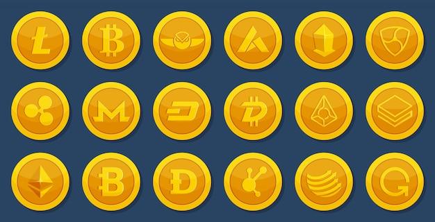 Diverse monete di valuta cripto. denaro elettronico virtuale. immagini bitcoin in stile cartone animato